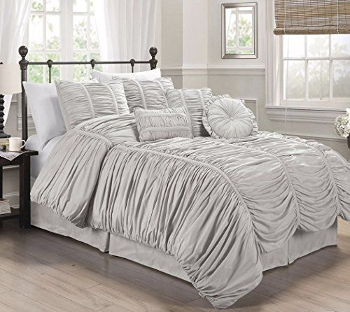 Chezmoi Collection 7 Piece Chic Ruched Comforter Set Wit Comforter Sets Ruffle Comforter Pink Comforter
