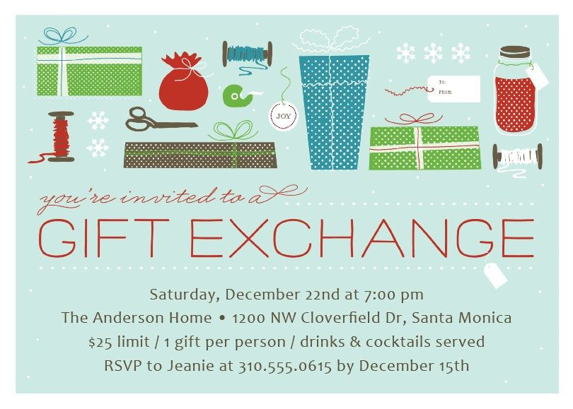 Gift exchange christmas party invitation christmas party gift exchange christmas party invitation negle Gallery