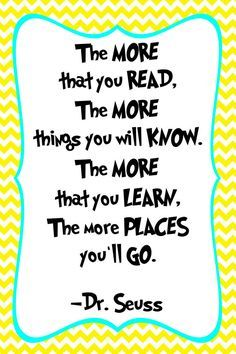 Reading Quotes For Kids Impressive Drseuss Quote Print Classroom Poster Or Nurseryssddesign . Decorating Inspiration