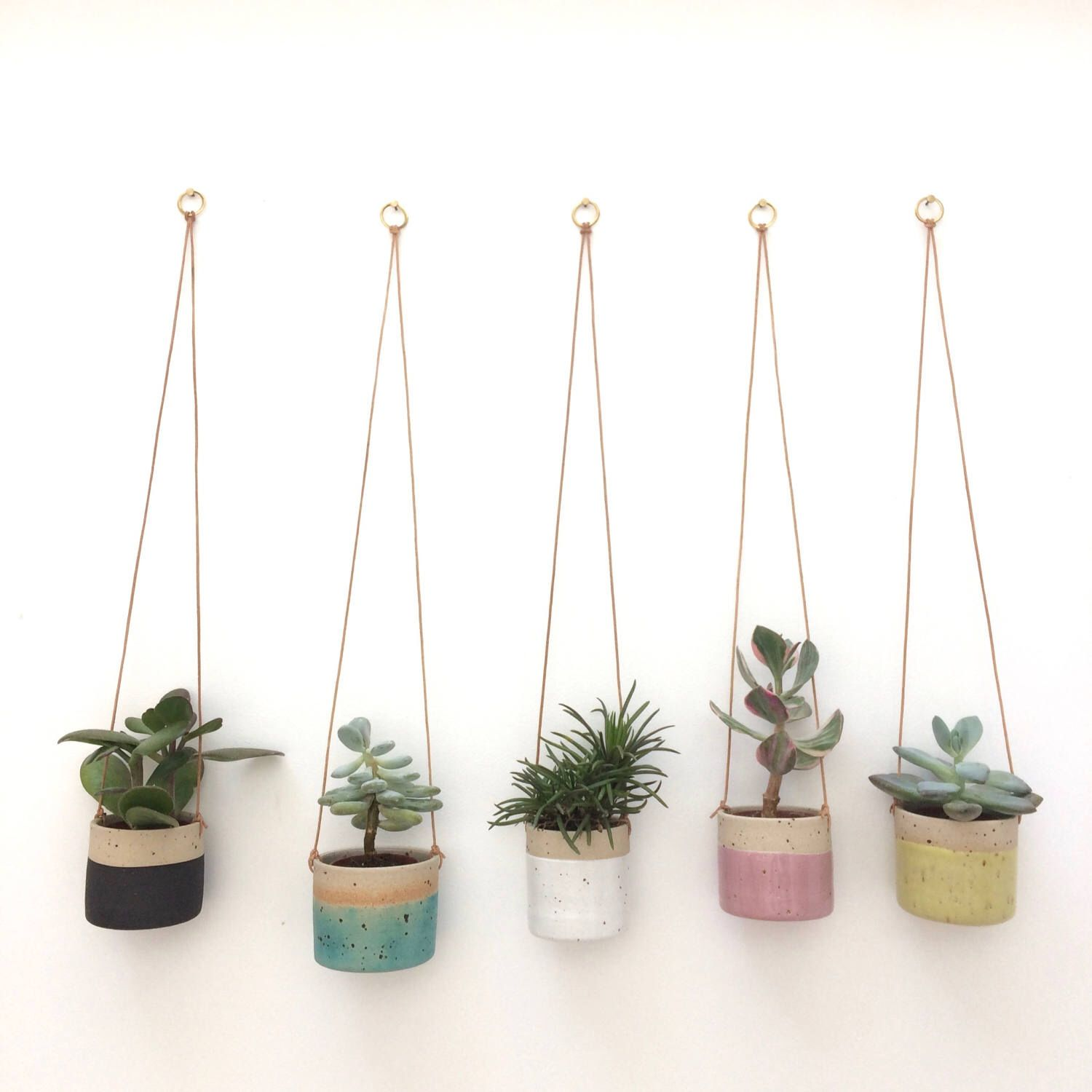 Black handmade ceramic hanging planter small pre order for 5th feb 2018 shipping by