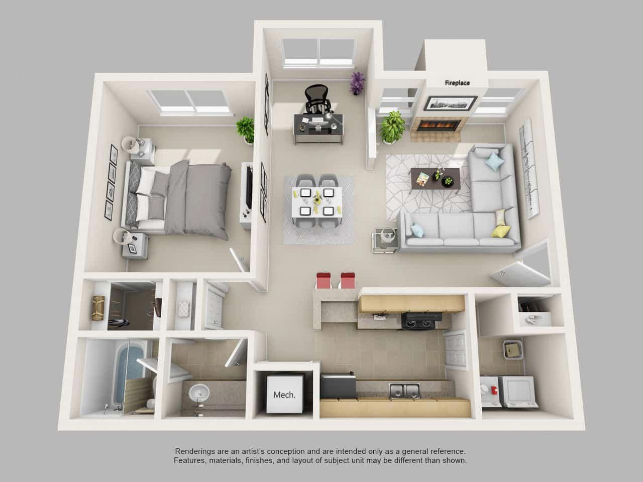 Image Result For 1 Bedroom 3d Floor Plan Modernhomedecorbedroom Apartment Layout Apartment Floor Plans Small Floor Plans