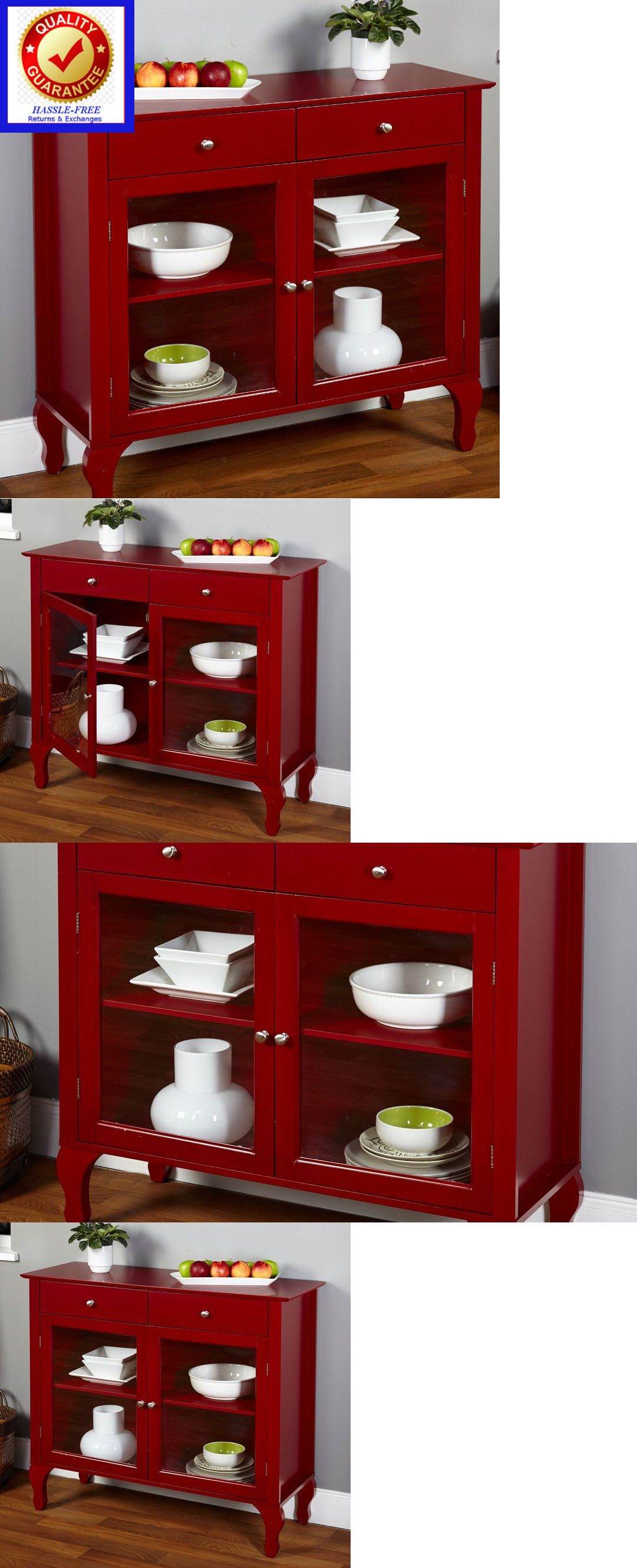 Sideboards and buffets 183322 colonial kitchen buffet table dining room china storage cabinet red