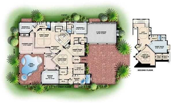 Architecture: Colored Floor Plan