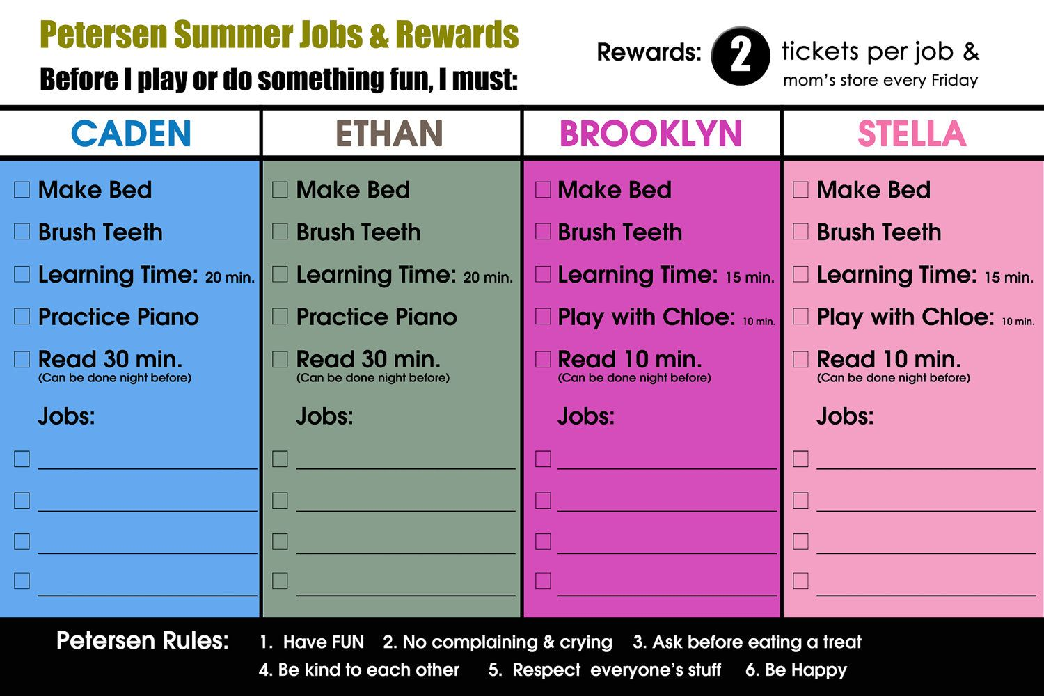 Chore Charts For Kids With Pictures