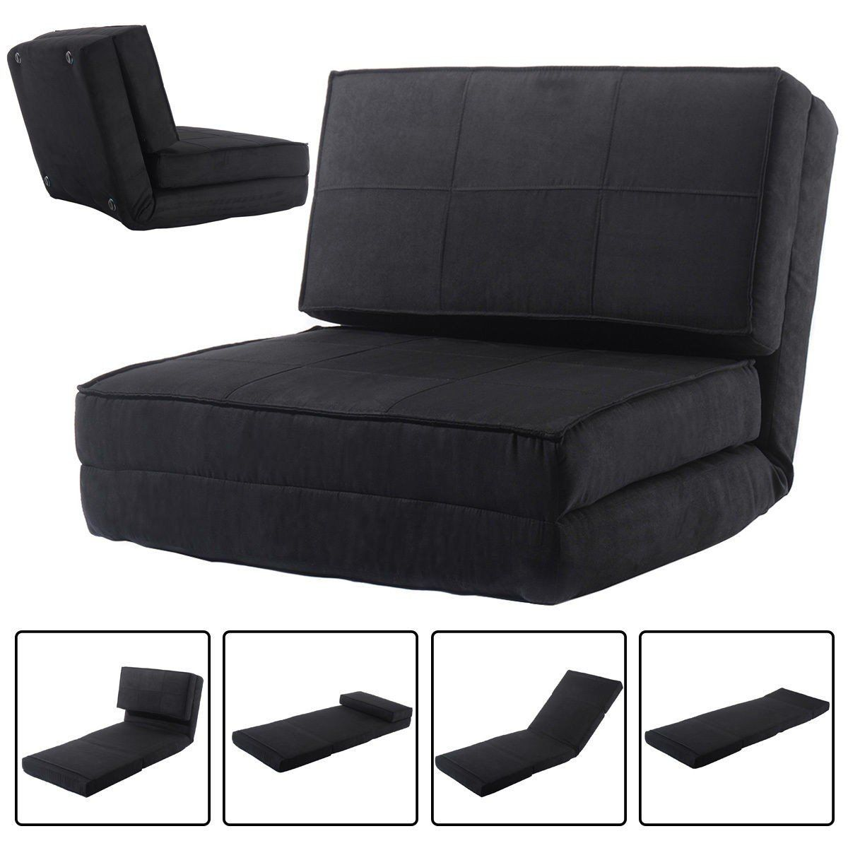 Futon Sofa Bed Furniture GRAY Sleeper Lounger Convertible Low Seat Microfiber