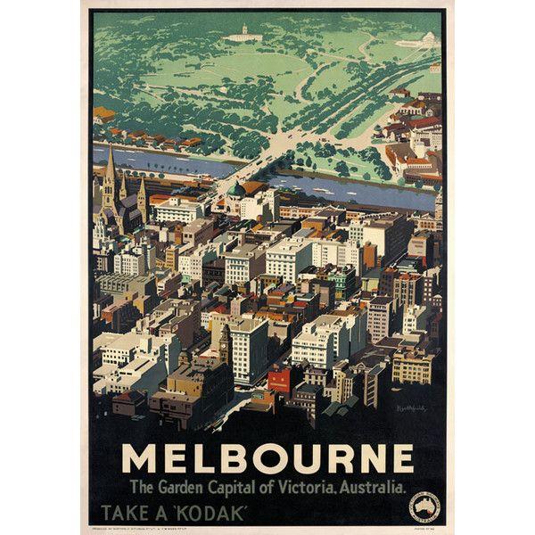 Melbourne Australia. Vintage Australian Travel Poster by James ...