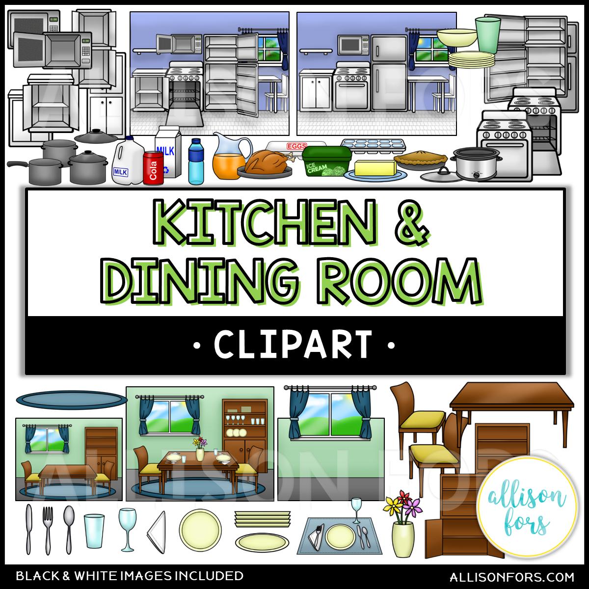 House Kitchen Amp Dining Room Clip Art Bundle