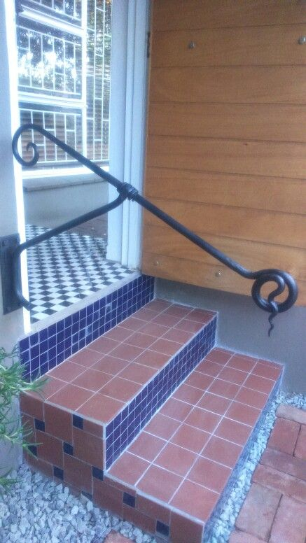 Outdoor step railing wrought iron d 39 eramo creations - Exterior wrought iron handrails for steps ...