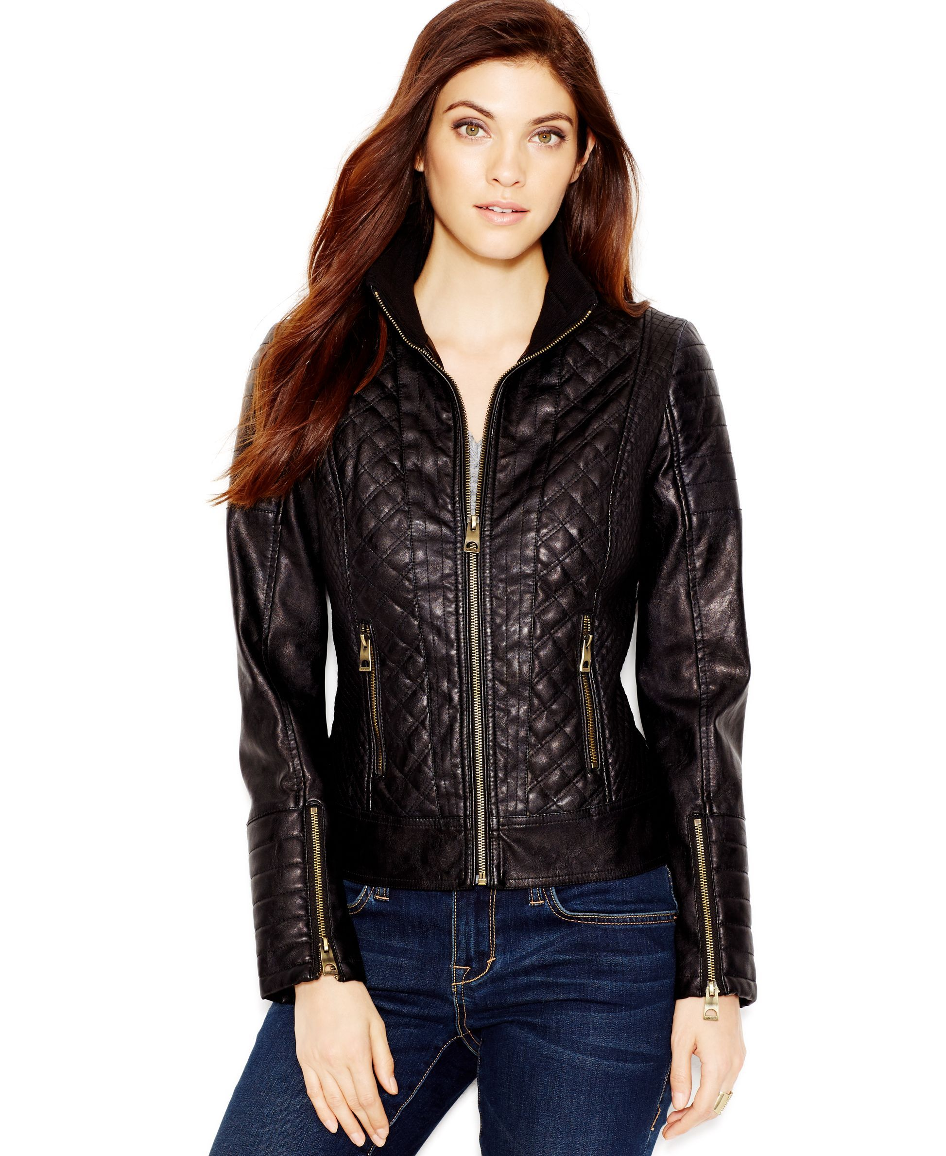 moto jacket leather pin lane sarah bryant dkny faux quilted by quilt jeans