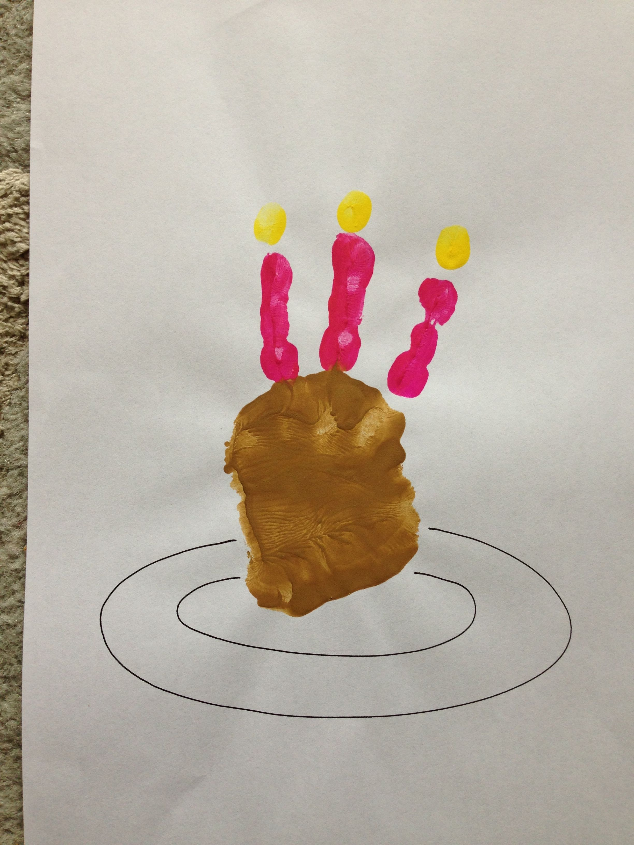 Kids Handprint Birthday Cake Craft Activity Happy