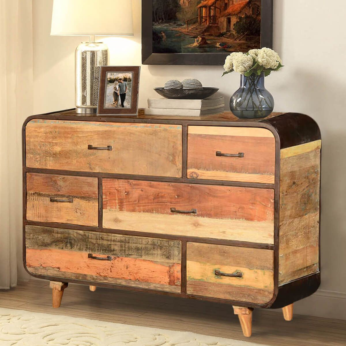 Natural Wood Grain Stripes Round Corners And A Black Iron Frame All Come Together In This Dynamic Fusion Style Dresser Our 60 S Retro Rustic Standing 6