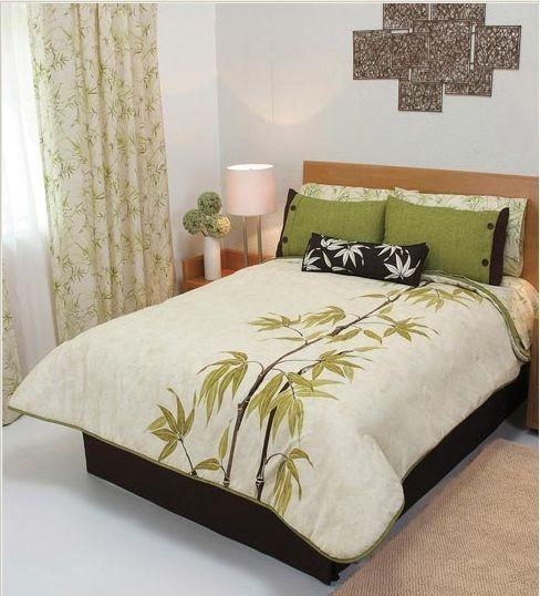 Bamboo Leaves Olive Green Beige Reversible Comforter Set Full