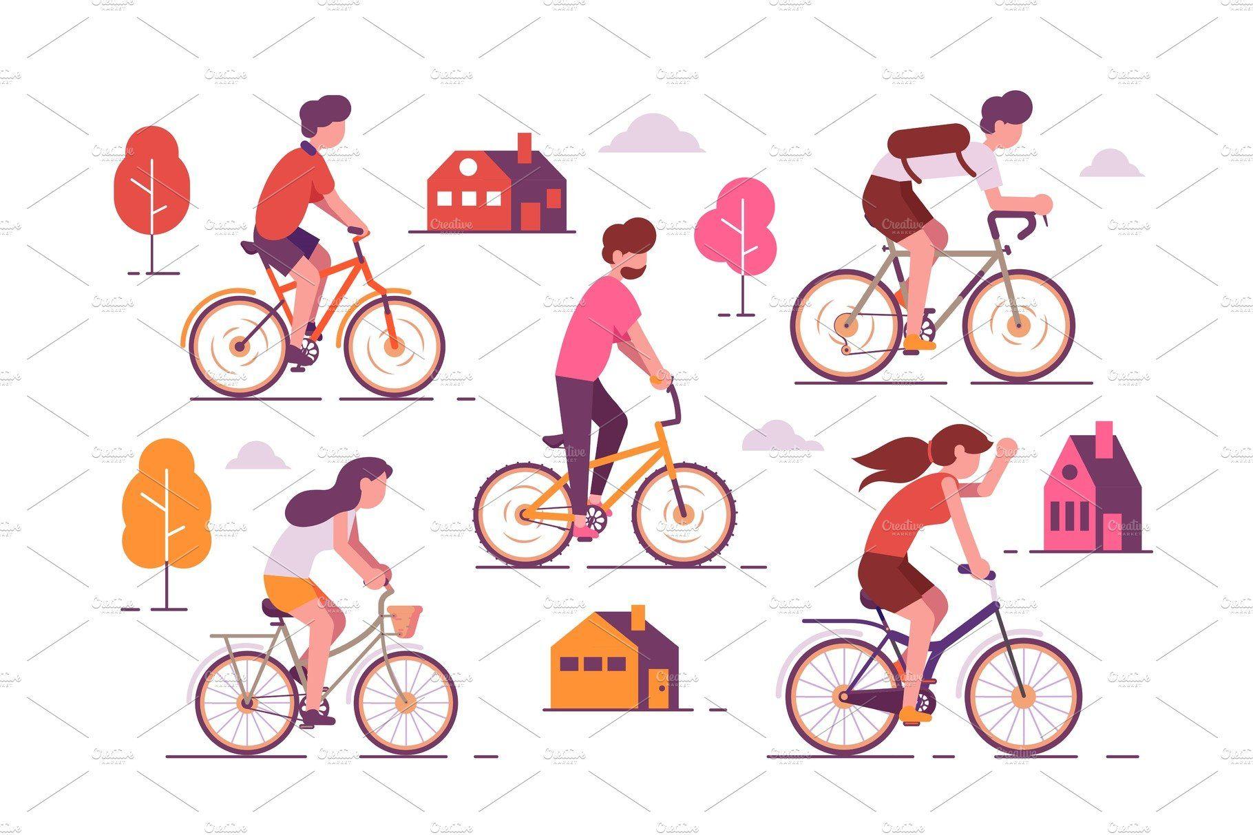 People Riding Bikes Bike Ride Bike Illustration Bike