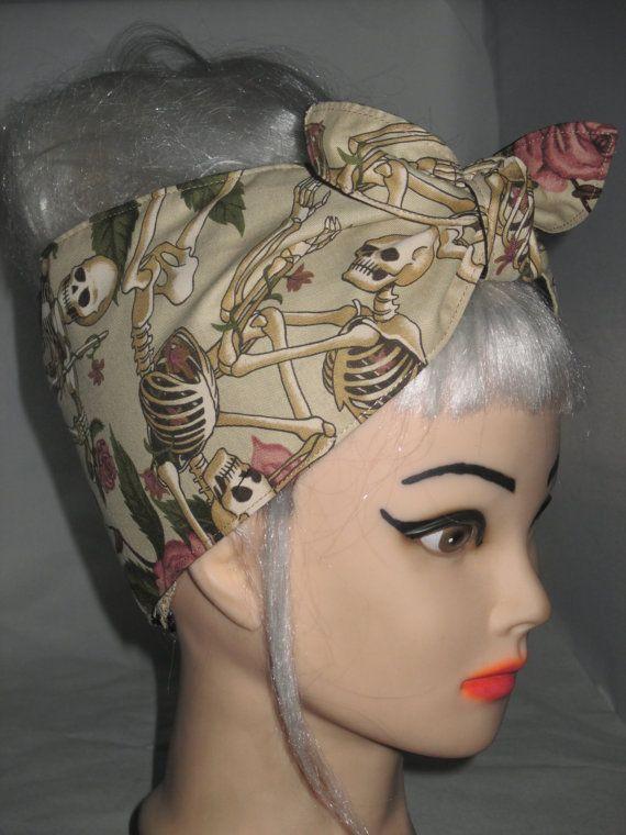 Headband Roses Skull  Pin-up Vintage Retro Style by 3DROPSOFPOISON