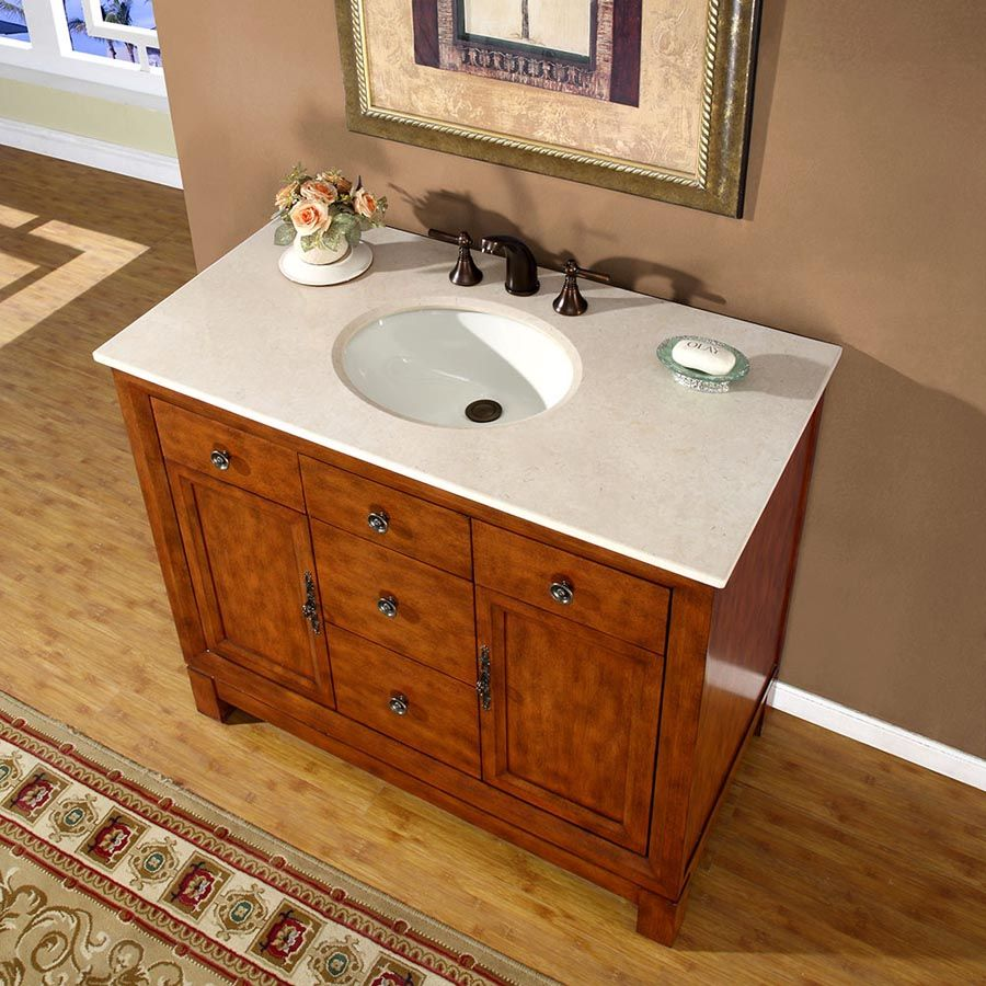 G4065 42 Single Sink Vanity Cream Marfil Marble Top Cabinet Single Sink Bathroom Vanity Bathroom Vanity Bathroom Sink Vanity