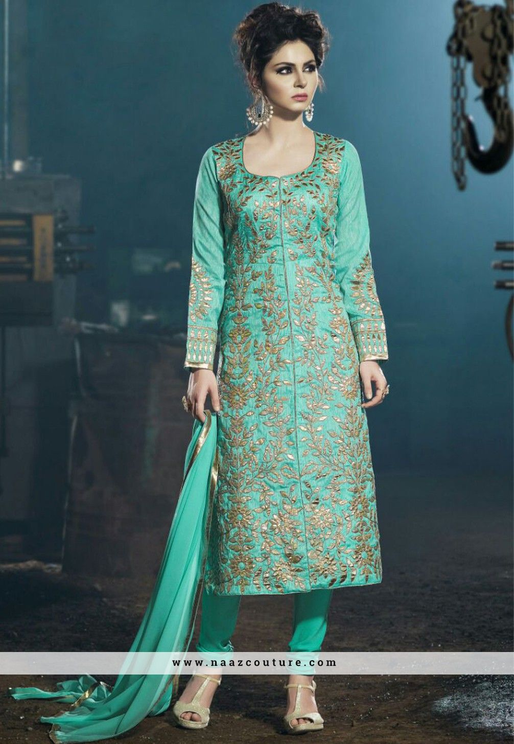 Turquoise Indian Wedding Wear Punjabi Salwar Suit … | punjabi …