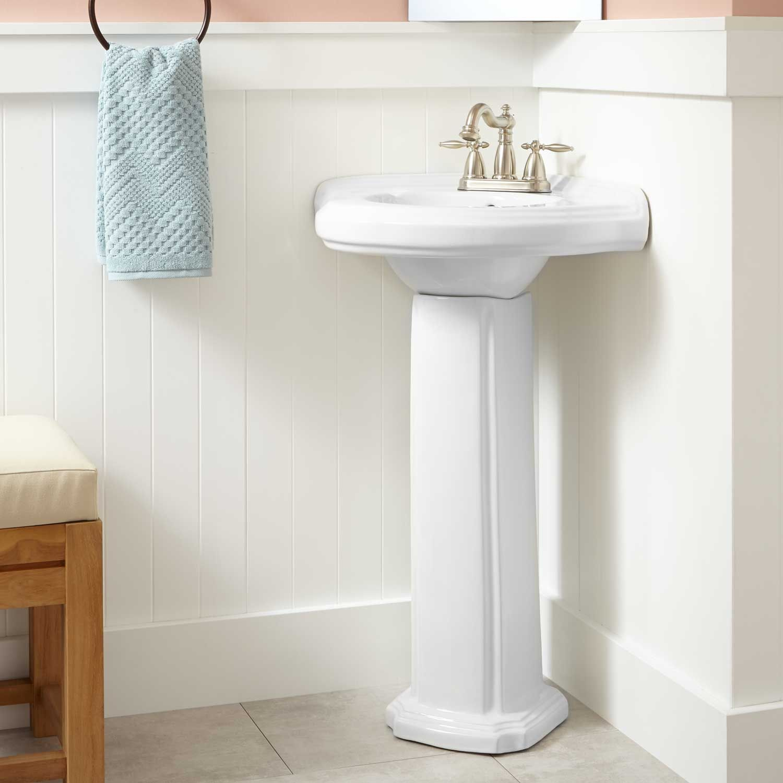 Gaston Corner Porcelain Pedestal Sink In 2021 Corner Pedestal Sink Pedestal Sink Bathroom Corner Sink Bathroom