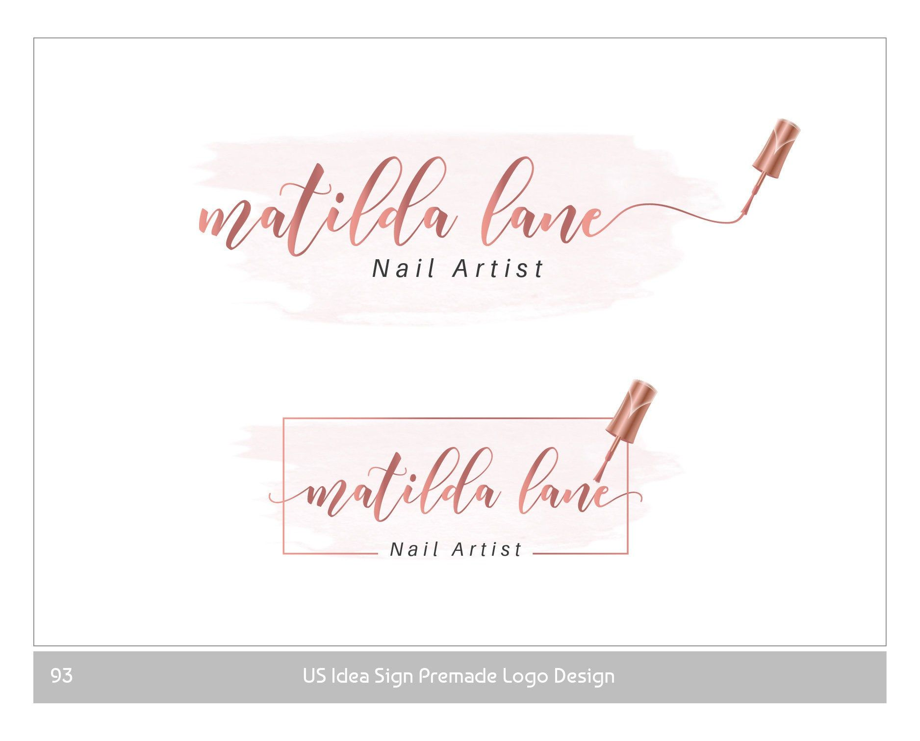 Nail polish logo rose gold Nail Design Logo Premade