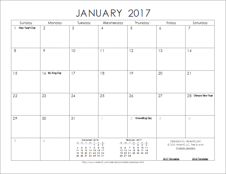Download the 2017 Ink Saver Calendar from Vertex42.com | For the ...