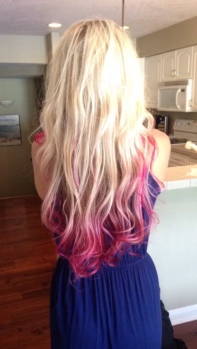 Blonde Hair With Pink Tips With Images Pink Blonde Hair