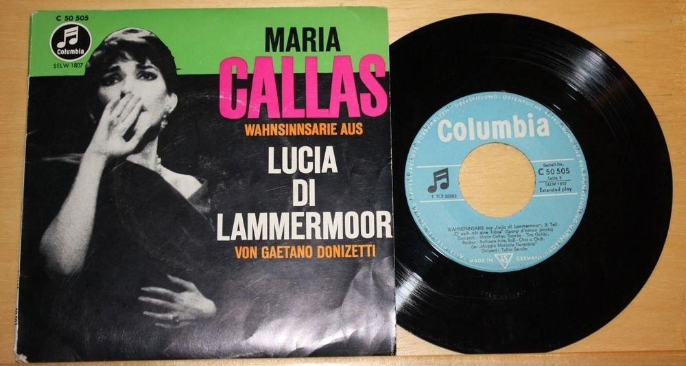 "MARIA CALLAS - Lucia Di Lammermoor - Vinyl 7"" Single - Mono - Columbia"