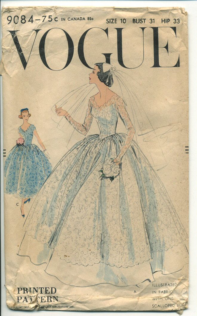 1950s Vogue 9084 Wedding Dress Pattern 31 Bust Bridal Gown Full Skirt Bridal Gown Lace Overlay