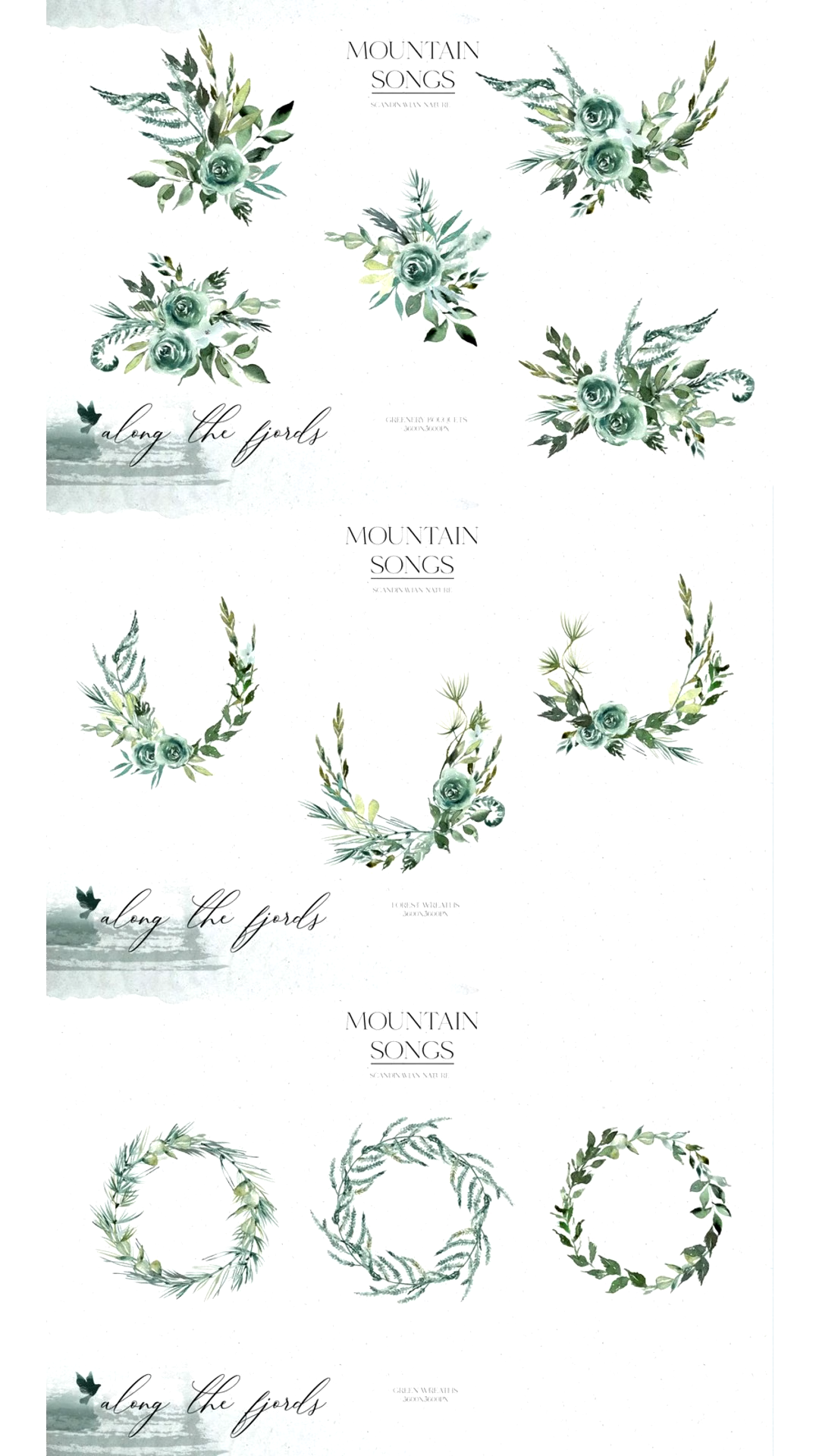 160 greenery mountains and forest illustrations. S