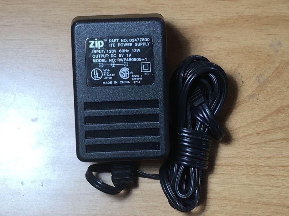 Iomega Zip Genuine Ac Dc Adapter Rwp480505 1 120vac 60hz 13w 5volt 1amp 02477800 Iomegazip Cable Ebay Dc 5v