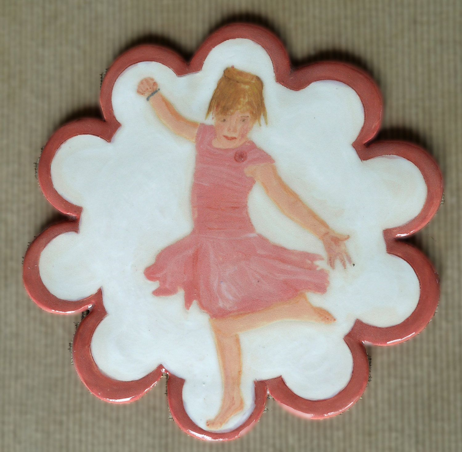 Your child or grandchild hand painted on a trivet from your favorite photo by CeramicsByKK on Etsy