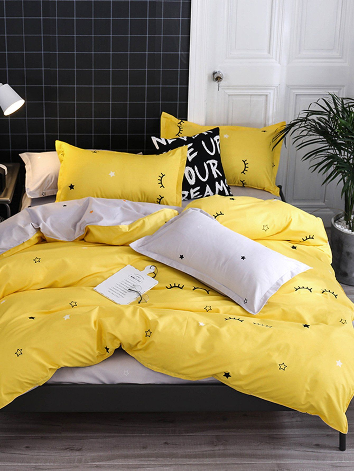 Eyelash & Star Print Sheet SetFor Women-romwe | Bed linen ...