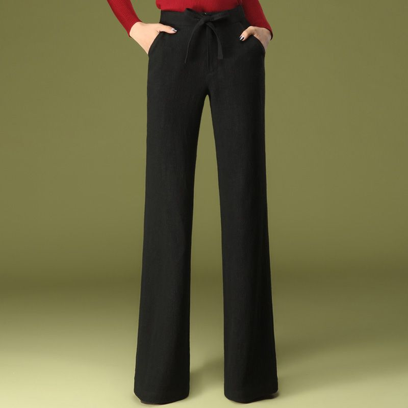 9e4248a086 Spring Autumn Womens Formal Black Dress Wide Leg Loose Trousers ...