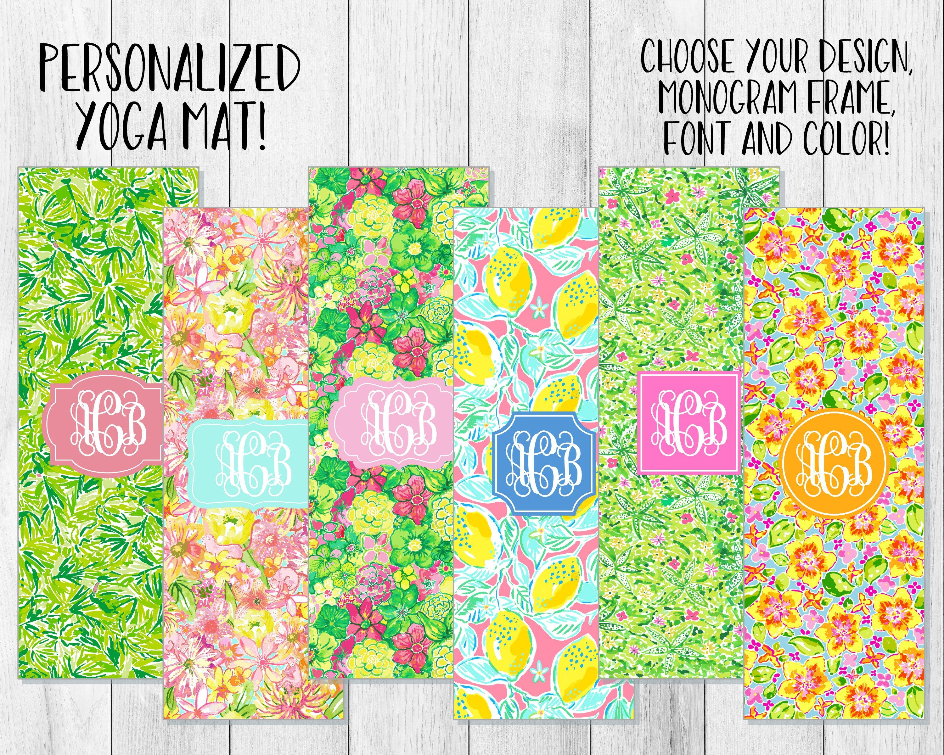 Tropical Lilly Pulitzer Inspired Pattern Yoga Mat  Monogrammed By