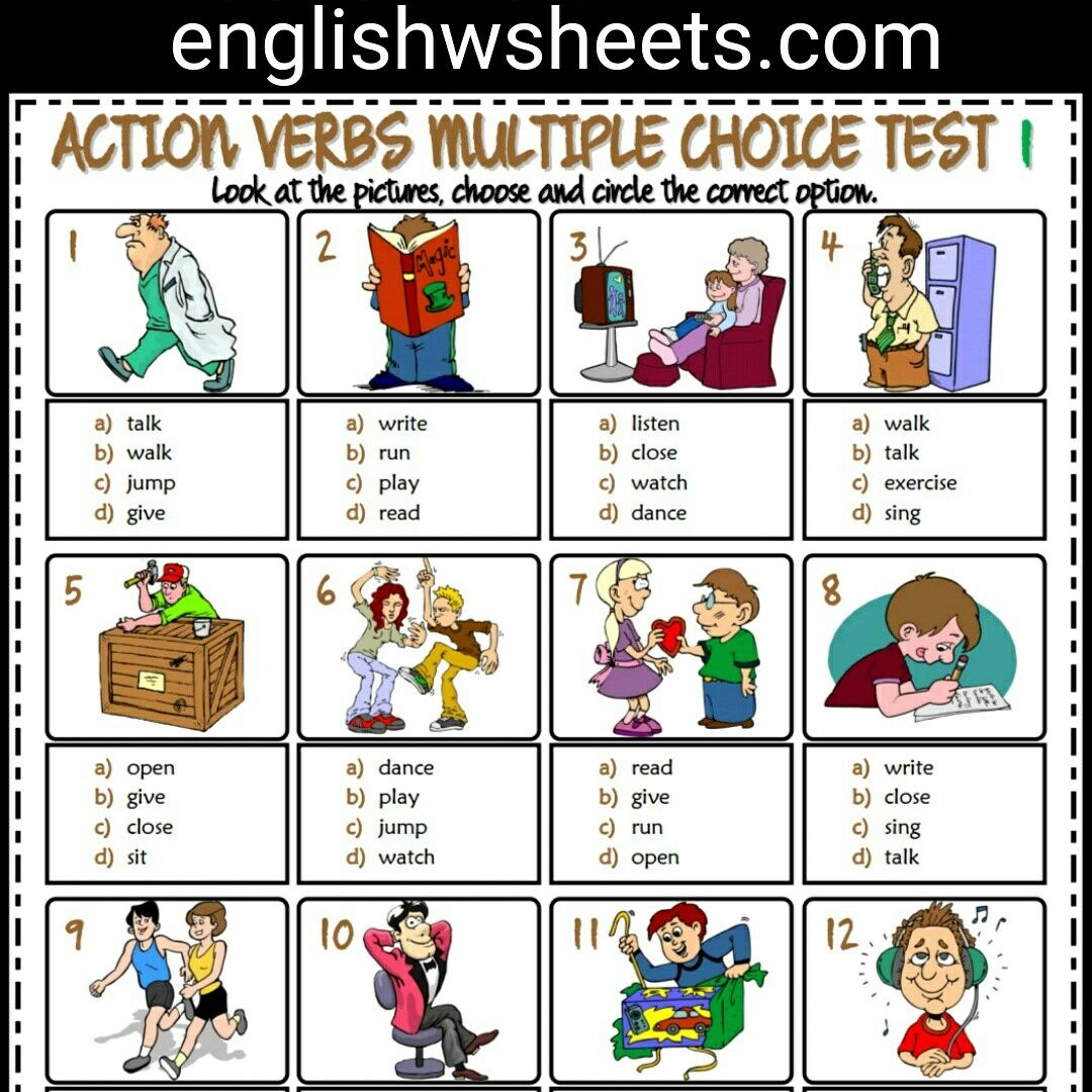 Action Verbs Esl Printable Multiple Choice Tests For Kids