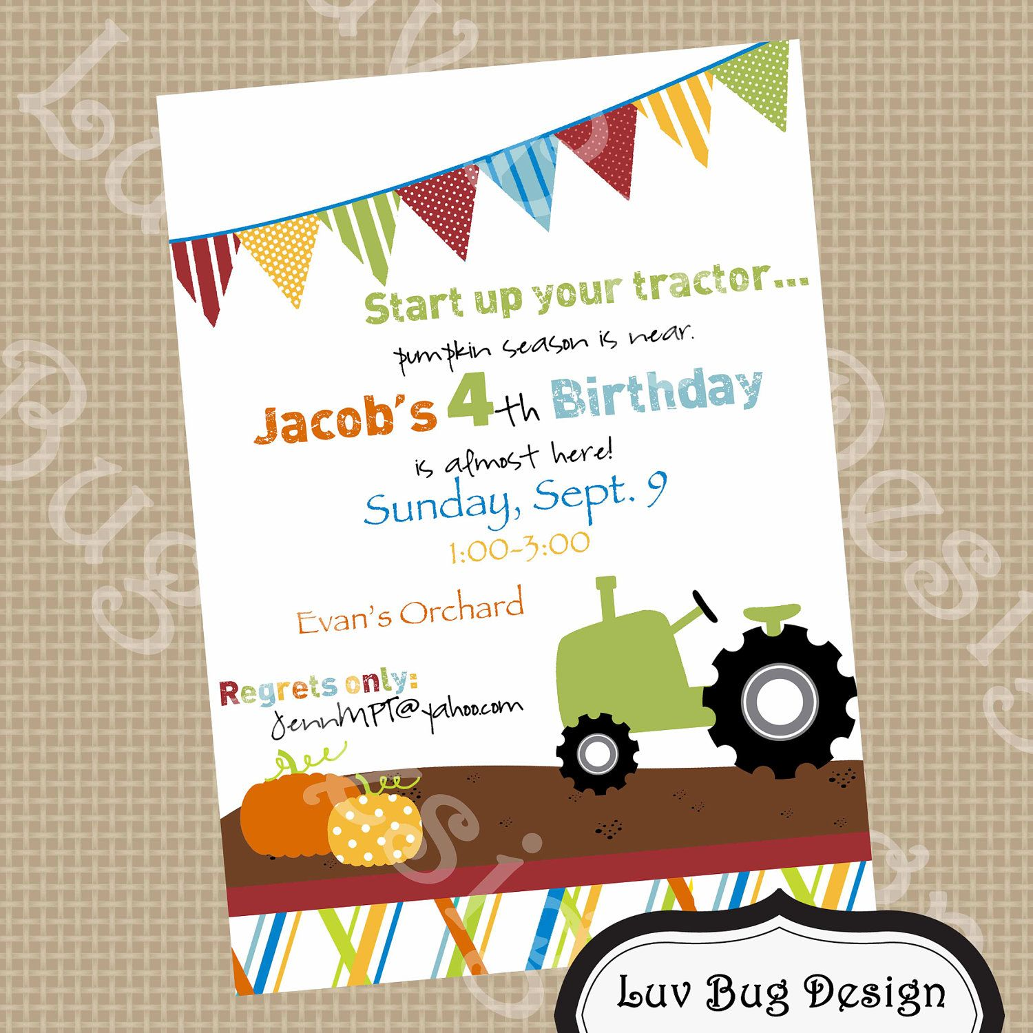 PRINTABLE Tractor Pumpkin Patch Birthday Party Invite- Printable ...