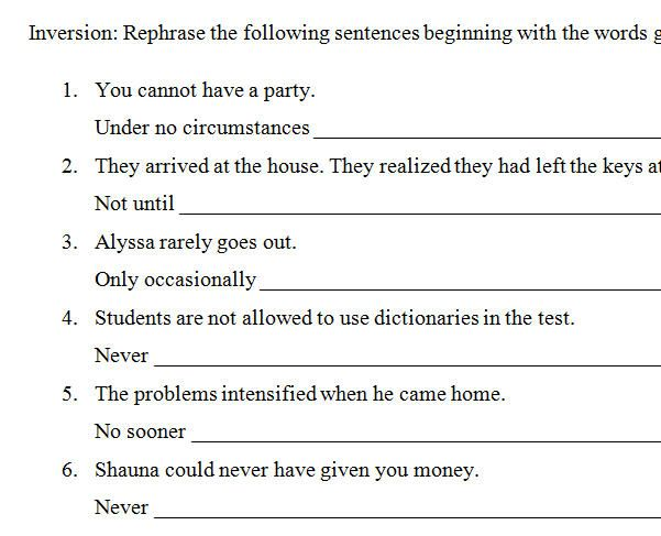 Inversion Practice Worksheet Practices Worksheets Inversions Learn English 10th grade grammar worksheets