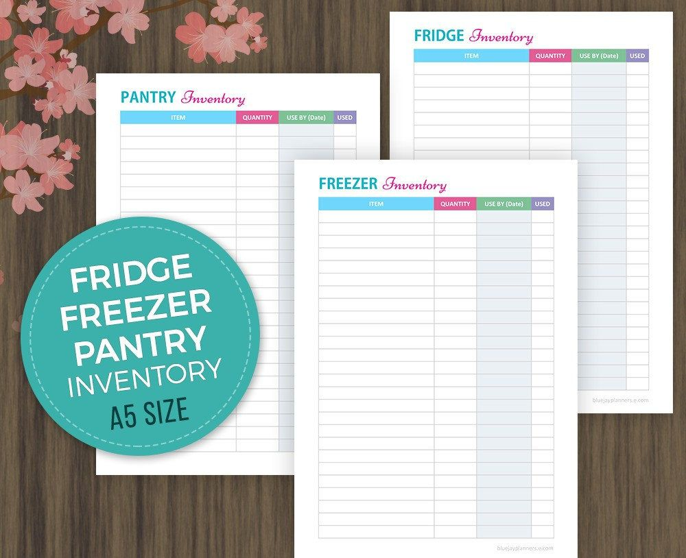 A5 Fridge, Freezer and Pantry Inventory Checklist, Meal Planning ...