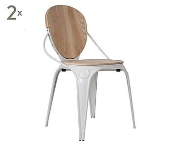 Sedie Bianche E Legno : Set di 2 sedie in acciaio e legno louix bianco 84x60x52 cm
