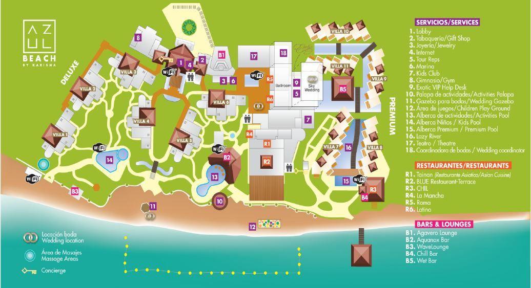 Resort Map Azul Beach Playa Del Carmen Resorts Azul Fives Mayan Riviera Mexico