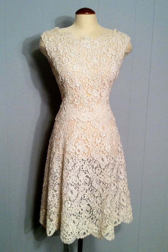 RESERVED Vintage Romance - Off White Lace Dress Wedding Gown ...