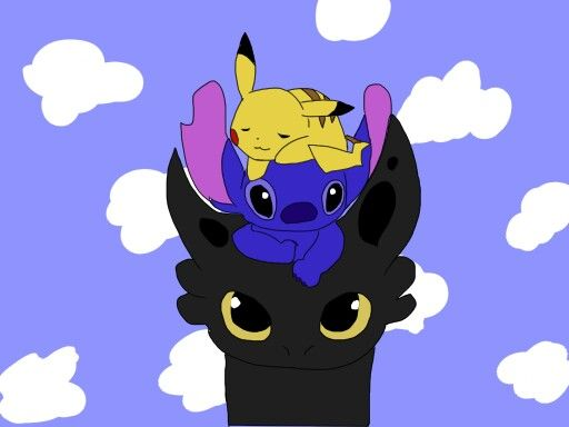 Pikachu Toothless And Stitch Toothless And Stitch Cartoon Coloring Pages Stitch And Pikachu