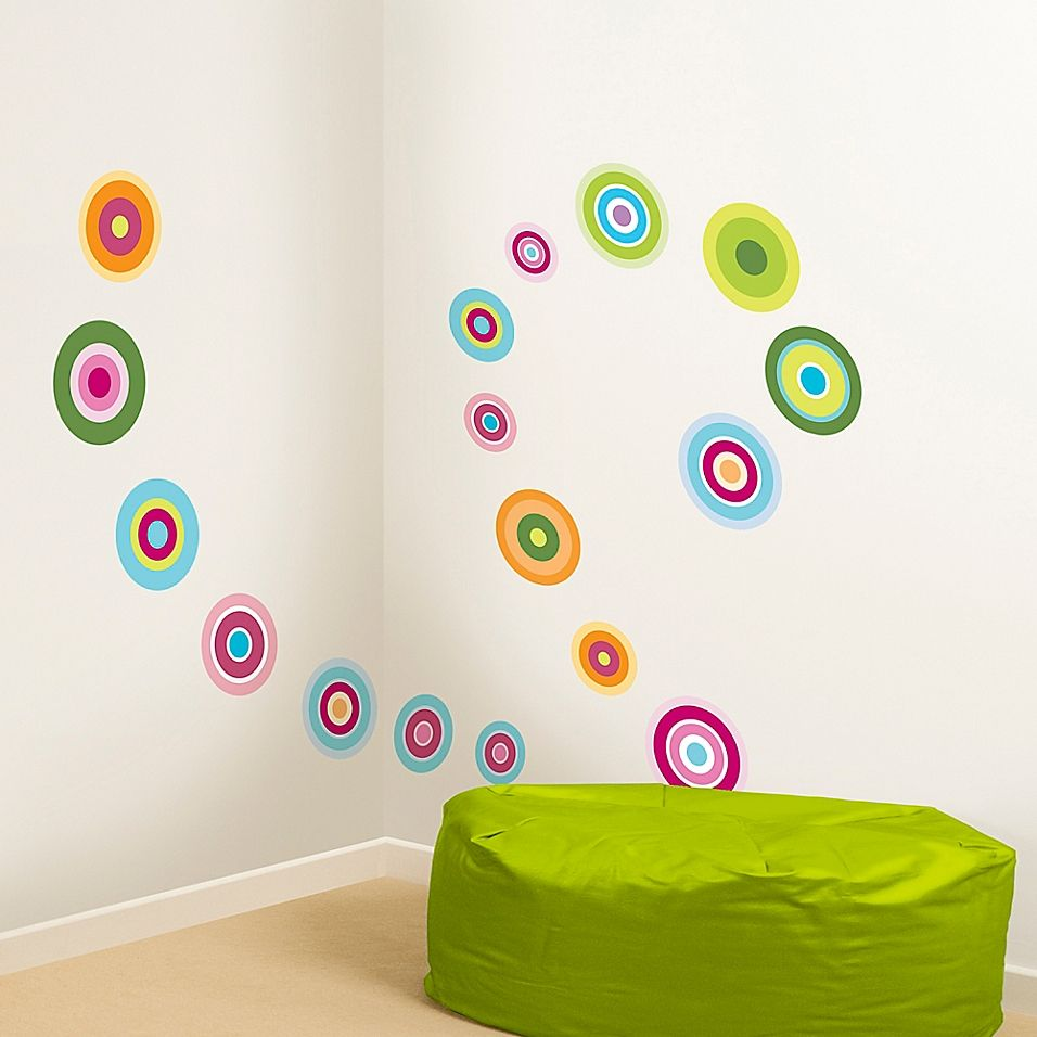 Candy Dot 36-Piece Wall Decal Set - Breathe new life into bare walls with the Candy Dot Wall Decal Set. This super snazzy wall art has a peel and stick design so it's easy to put up or take down. The candy theme is sure to delight on the walls of your child's room.