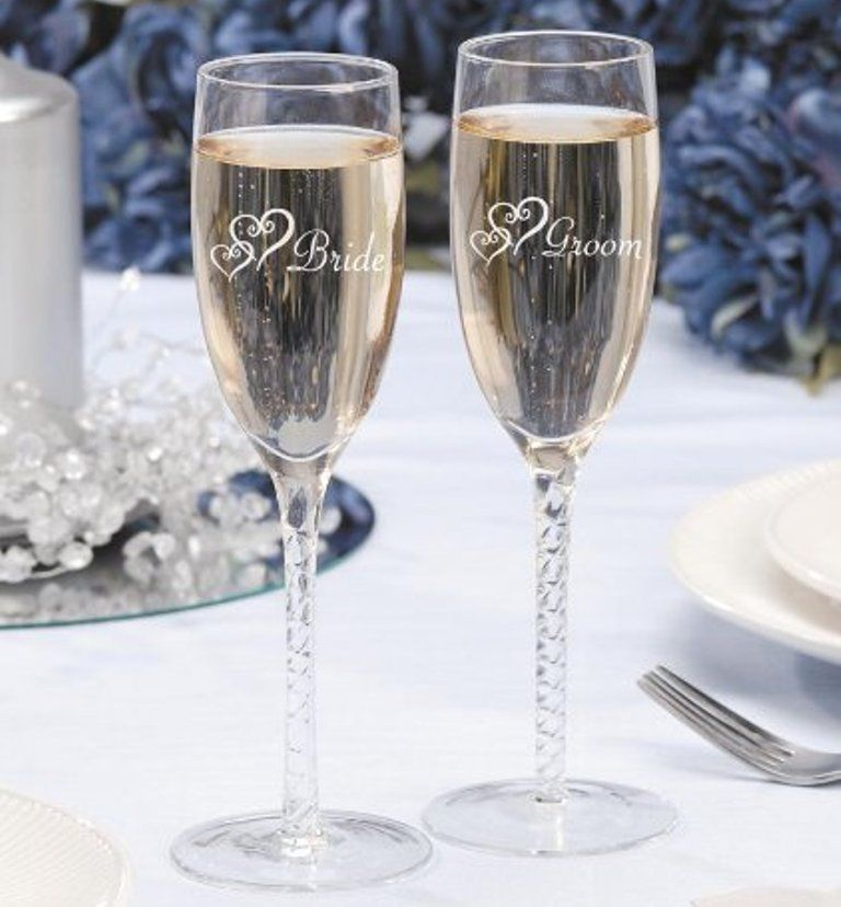 Double Heart Champagne Glasses Wedding Toasting Set 2 Bride Groom Twisted Party  #Darice