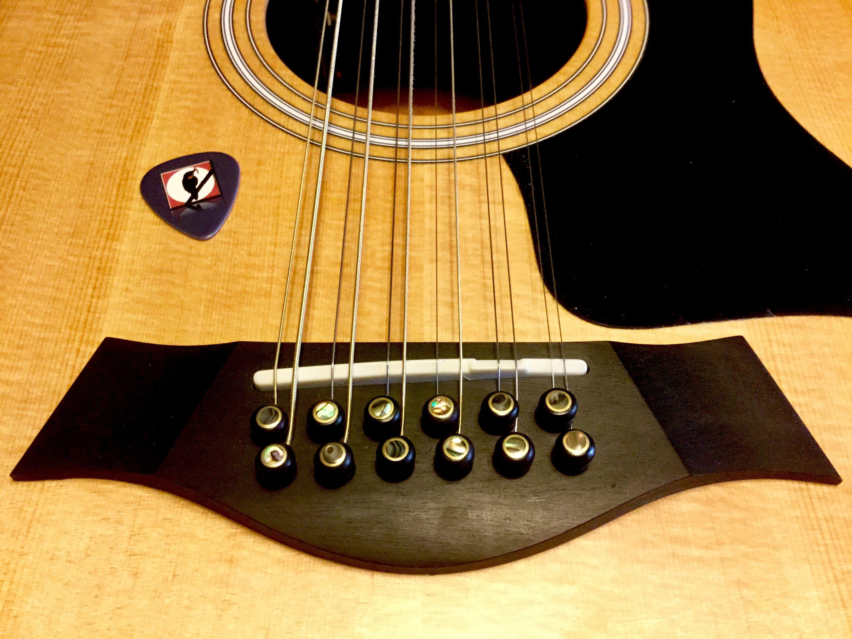 Ebony Bridge Pins With Brass And Abalone Embellishments Gitara