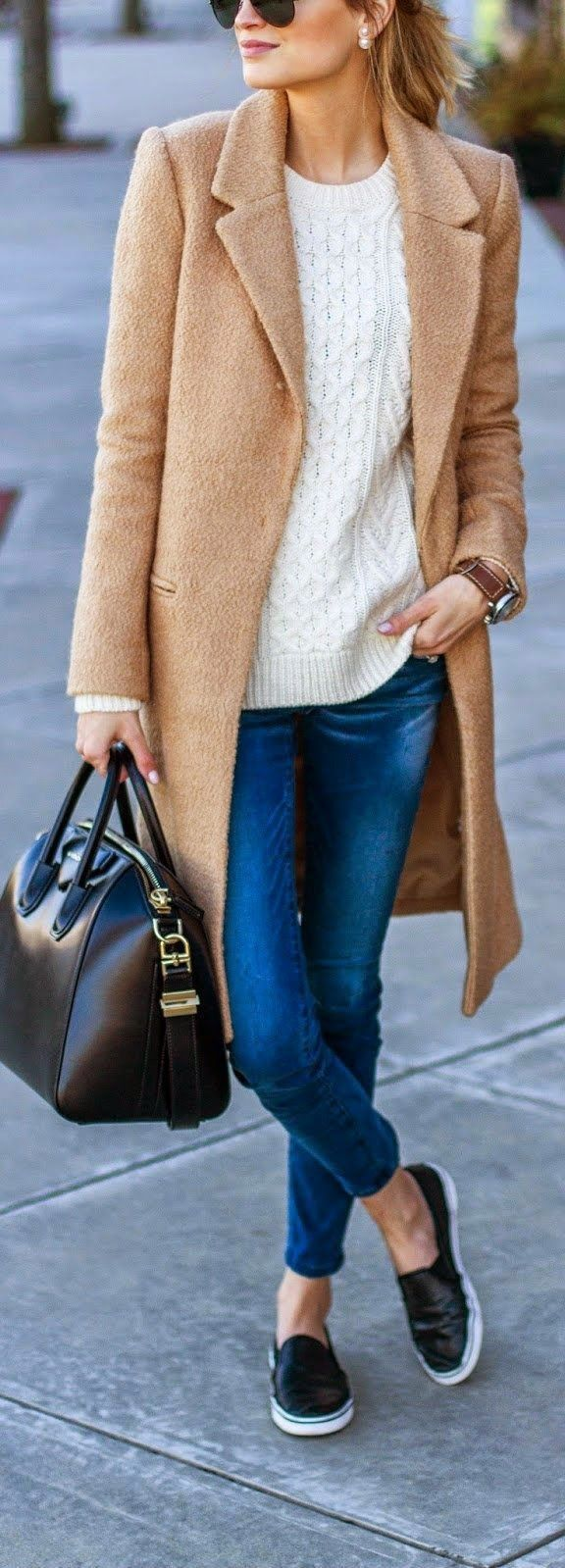 SPORTY CHIC - Coat in Brushed Fabric   Pilcro Serif Sateen Jeans   Classic Cable Knit Sweater   Steve Madden Sneaker / Little Blonde Book