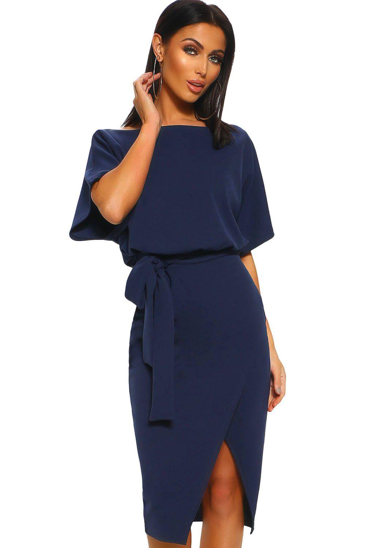 24da4171 Blue Belted Wrap Front Midi Dress in 2019 | Products | Black midi ...