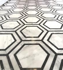 Carrara White Hexagon with Black Marble Polished/Honed #whitemarbleflooring