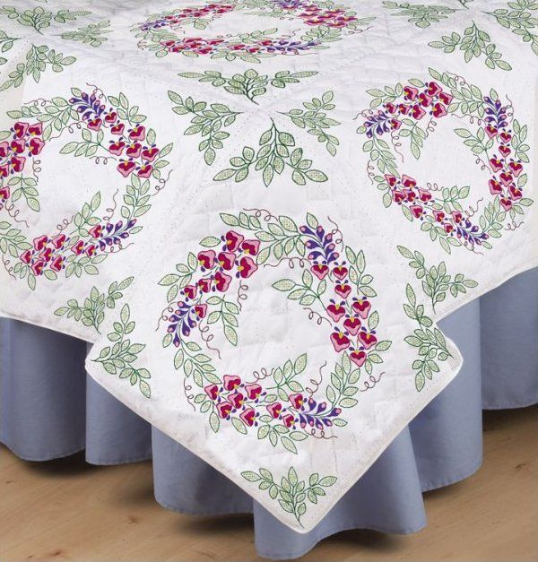 Bleeding Hearts Stamped Embroidery & Quilting Blocks - Set