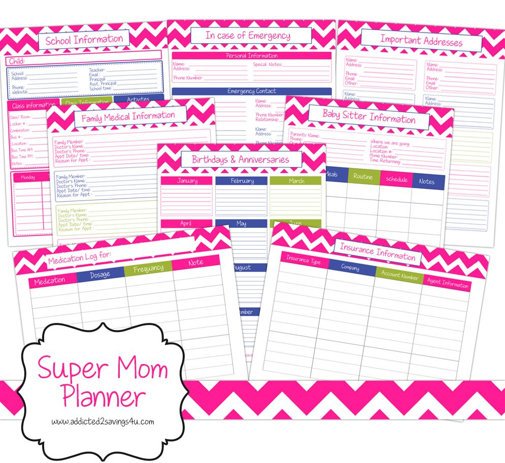 Free 30 Page Printable Super Mom Planner Everything You