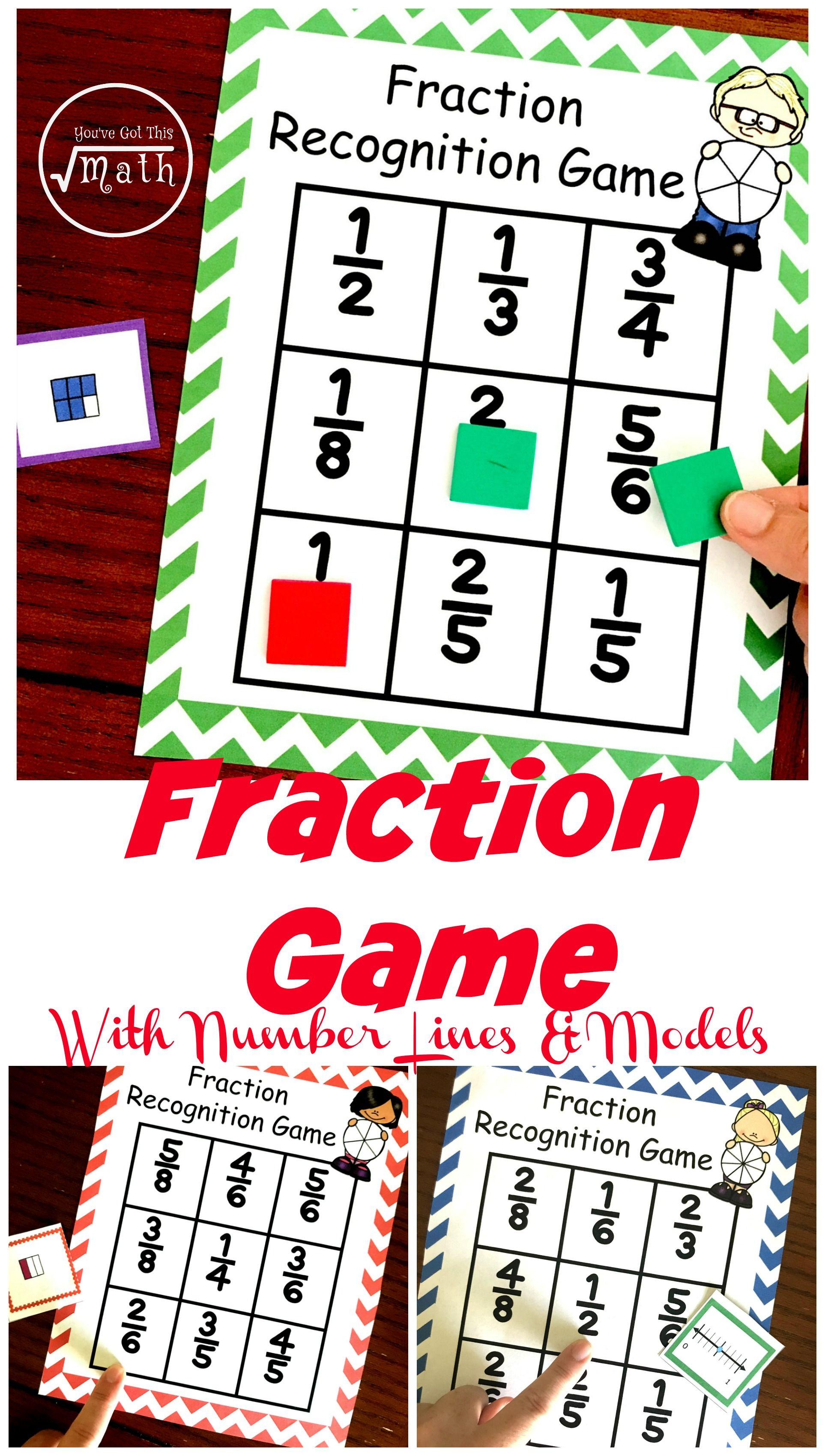 Fraction Game With Visual Models Number Lines And