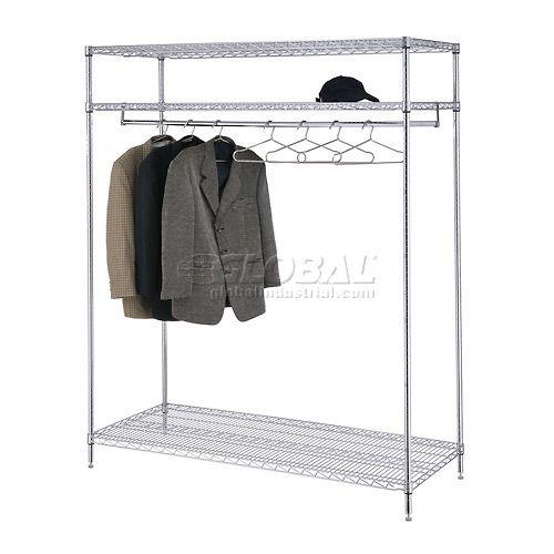 Coat Luggage Racks Coat Racks Freestanding Garment Floor Rack With 24 Hangers 3 Shelf 184452 Globalindus Clothing Rack Standing Clothes Rack Shelves